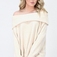 Off Shoulder Slouchy Chenille Knit Sweater {Cream}
