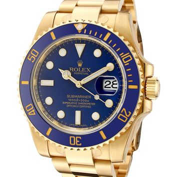 Rolex Men's Submariner Automatic Blue Dial Oyster 18k Solid Gold