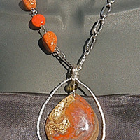 Modern Red Agate & Jasper Pendant Statement Necklace, asymmetric,  beaded, wire wrapped, contemporary, stone, smoky quartz, hammered, silver
