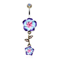 Vintage Hawaiian Plumeria Belly Button Ring 316L Surgical Steel (Brass/Aurora Borealis/Purple)