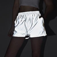 Flash Reflective Women Shorts Streetwear Festival Party Club Casual Gray Active Wear