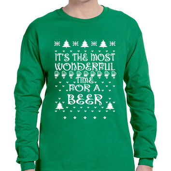 Men's Long Sleeve It's Most Wonderful Time for Beer Ugly Sweater