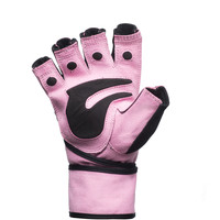 Ladies Heavy Duty Pink Weight Lifting Gloves with Padded Palm and Wrist Wraps