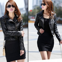 Fashion Women Slim PU Leather Jacket = 1931653700