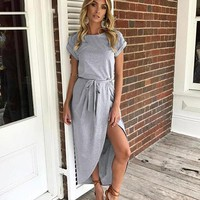 Bow Asymmetrical Sexy Maxi Dress Women Vintage Casual Long Dress Robe Elegant Split Dress