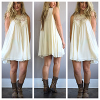 A Bohemian Lace Dress in Ivory