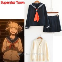 Cool My Hero Academia Himiko Toga Costume Japanese Anime Cosplay Suit School Girl JK Uniform Sweater Cardigan ClothesAT_93_12
