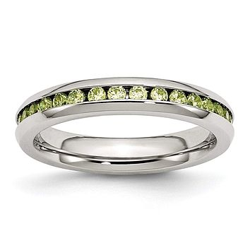 Stainless Steel 4mm August Light Green CZ Ring