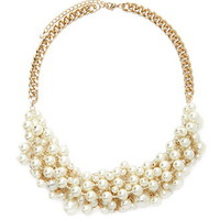 Faux Pearl Chain Statement Necklace