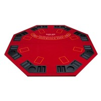 Red Octagon Poker & Blackjack 2 in 1 Folding Table Top