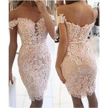 Pink Lace Applique Off Shoulder Homecoming Dresses,Short Sleeve Bodycon Homecoming Dresses