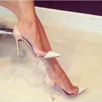 2016 Real Shoes Dames Schoenen New Brand Fashion See-through Pointed Toe Shoes Thin Heels High-heeled Pumps Height