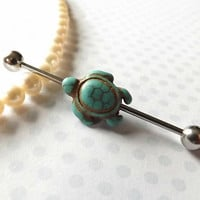 Industrial Barbell With Turquiose Turtle Body Jewelry Ear Jewelry Double Piercing