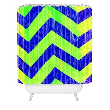 Sophia Buddenhagen Blue Green Chevron Shower Curtain