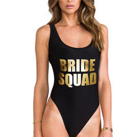 BRIDE SQUAD Gold Letter Print Sexy Thong One Piece Swimsuit Women High Cut Monokini Swimwear Beach Backless Funny Bathing Suit