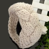 Imixlot Women's Knitted Head Wrap Winter Warm White Woolen Twisted Headband Crochet Hair Band