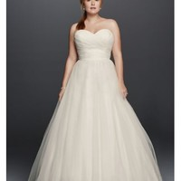 Plus Size Strapless Sweetheart Tulle Wedding Dress - Davids Bridal