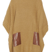 MICHAEL Michael Kors - Faux leather-trimmed ribbed-knit poncho