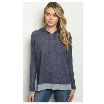 Limited Time Doorbuster! Adorable Navy 2 Toned Hooded Top