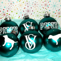 Teal Victoria Secret VS Pink 6PC Glass Ornament Set