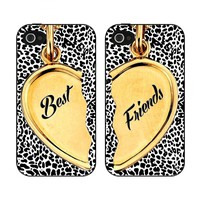 Black and Leopard Best Friends Heart Set of Two iPhone 4 or 4s Back Case Covers
