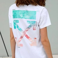 OFF-WHITE New Trendy Cotton Loose Round Neck Half Sleeve T-Shirt