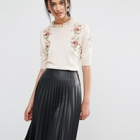 Oasis Embroidered Frill Knit Jumper at asos.com