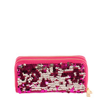 * Sequin Zipper Wallet In Fuchsia