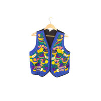 wild garden fruit & floral embroidered vest - vintage - colorful