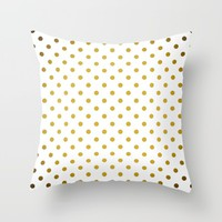 Gradient Gold Polka Dots Pattern on White Throw Pillow by stdjura