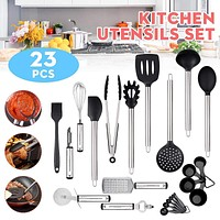 23x Stainless Steel Kitchen Tools Set Cooking Tools Utensils Set Spatula Whisk Spoon Pizza cut Grater Kitchenware Cookware set