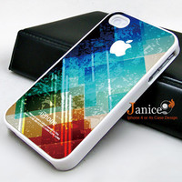 iphone 4 case iphone 4s case iphone 4 cover  red blue abstract colors  unique Iphone case