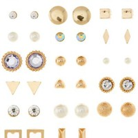 Gold Mixed Stud Earrings - 20 Pack by Charlotte Russe