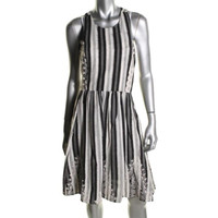 Tracy Reese Womens Embroidered Sleeveless Casual Dress
