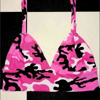 SWEET LORD O'MIGHTY! CAMO BABY BRALET IN PINK