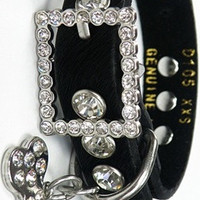 Black Brushed Cowhide Bling Collar