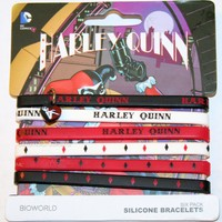 "Licensed cool NEW DC  Batman Joker Girl Harley Quinn Rubber Bracelet 6 PACK 1/4"" Wide"