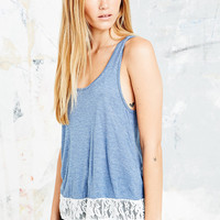 Pins & Needles Lace Insert Tank in Blue - Urban Outfitters