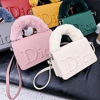 Dior fashion plush portable small square bag embossed messenger bag shoulder bag