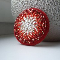 Bead Embroidered Red Circle Brooch Europeanstreetteam
