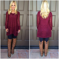 Brighten Up Sweater Top - BURGUNDY