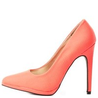 Qupid Python Textured Pointed Toe Pumps