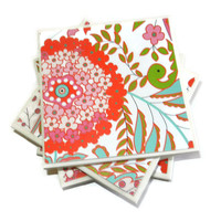 Pink and Light Blue Floral Ceramic Coasters, Set of 4