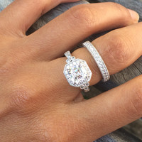 Silver or Gold REAL 4.5 Carats Cubic Zirconia Engagement Sterling Silver Ring