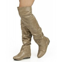 Room Of Fashion Vickie Hi Vegan Slouchy Elastic Knee High Boot TAUPE