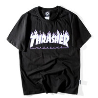 thersher flame print black white short sleeve top T-shirt