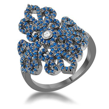 WildKlass Oval Blue Topaz Cocktail Ring