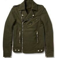 Balmain - Washed Cotton-Twill Biker Jacket | MR PORTER