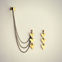 3 triangles ear cuff earrings
