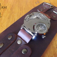 January Sales! 10% Discount** Mens Steampunk Dual time Watch & Handmade Leather wristband